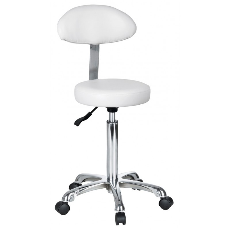 Round-shaped stool with backrest Saturne+
