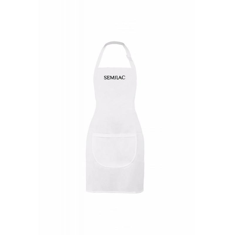 Delantal blanco con logo negro Semilac